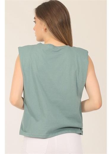 Emjey BASKILI VATKALI T-SHIRT Yeşil